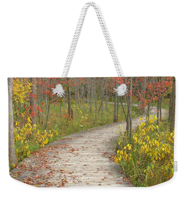 Autumn Weekender Tote Bag featuring the photograph Winding Woods Walk by Ann Horn