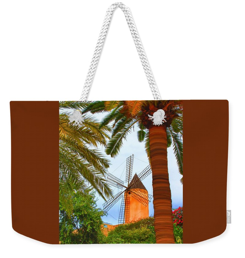 Spain Weekender Tote Bag featuring the painting Windmill In Palma De Mallorca by Deborah Boyd