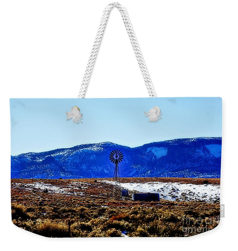 Windmill Weekender Tote Bag featuring the photograph Windmill In The Snow by Douglas Barnard