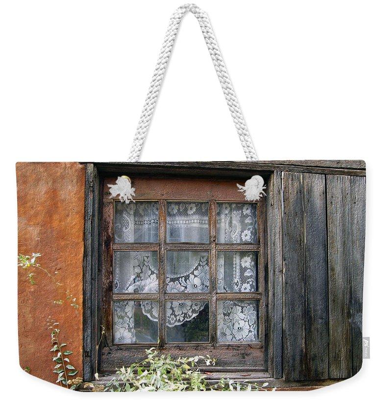 Window Weekender Tote Bag featuring the photograph Window At Old Santa Fe by Kurt Van Wagner