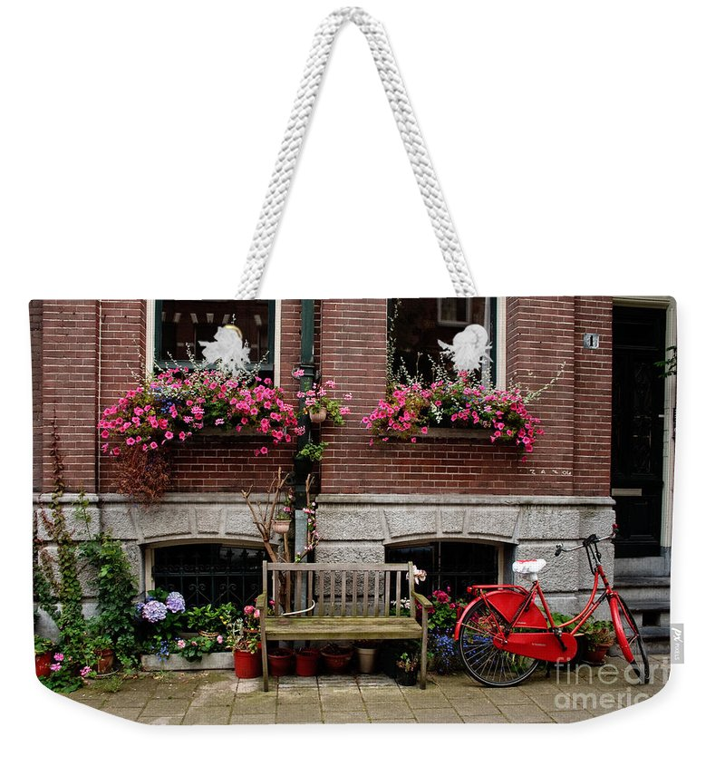 Amsterdam Weekender Tote Bag featuring the photograph Window Box Bicycle And Bench -- Amsterdam by Thomas Marchessault