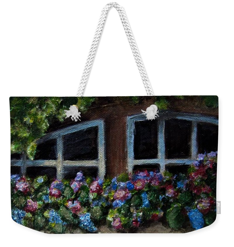 Window Box Weekender Tote Bag featuring the painting Window Box Wonder by Laurie Morgan