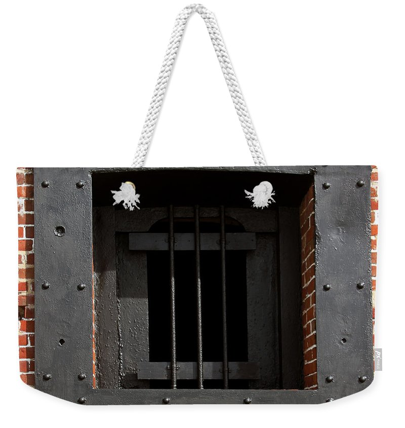 Prison Weekender Tote Bag featuring the photograph Window On Life by Bob Slitzan