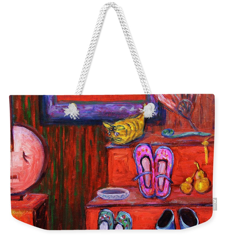 Still Life Weekender Tote Bag featuring the painting Window Shopping 1 by Xueling Zou