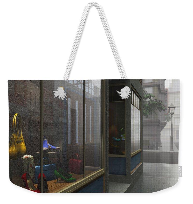 Gray Weekender Tote Bag featuring the digital art Window Shopping by Cynthia Decker