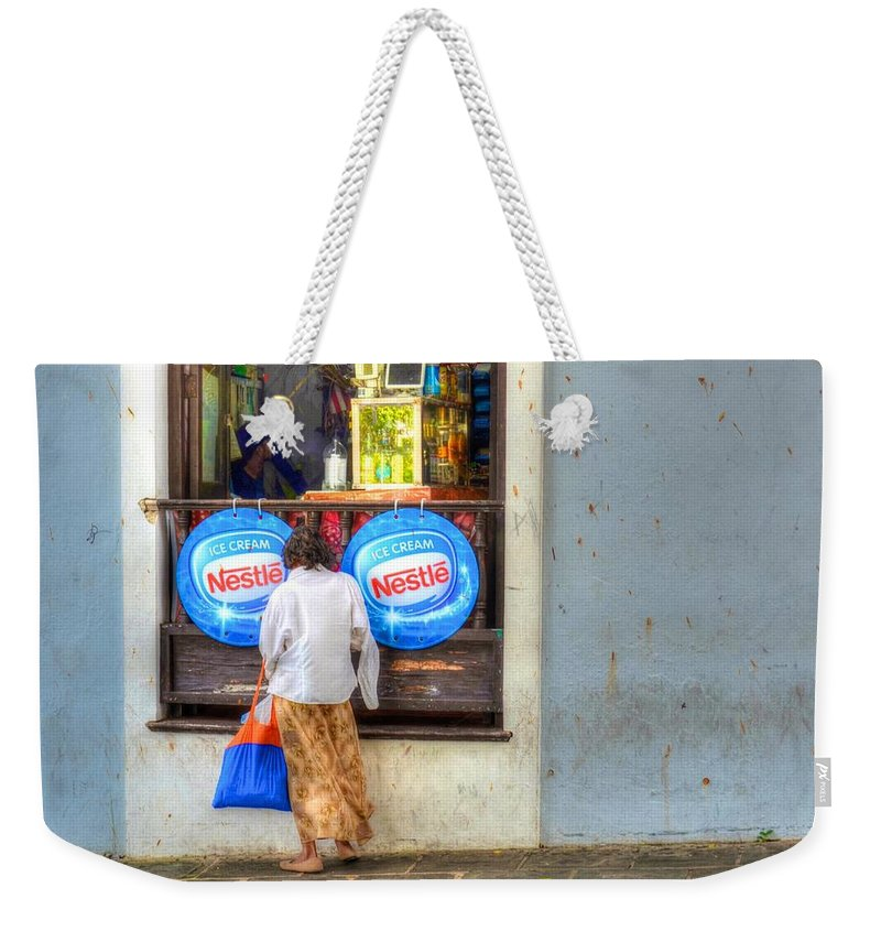 Lady Weekender Tote Bag featuring the photograph Window Shopping by Debbi Granruth