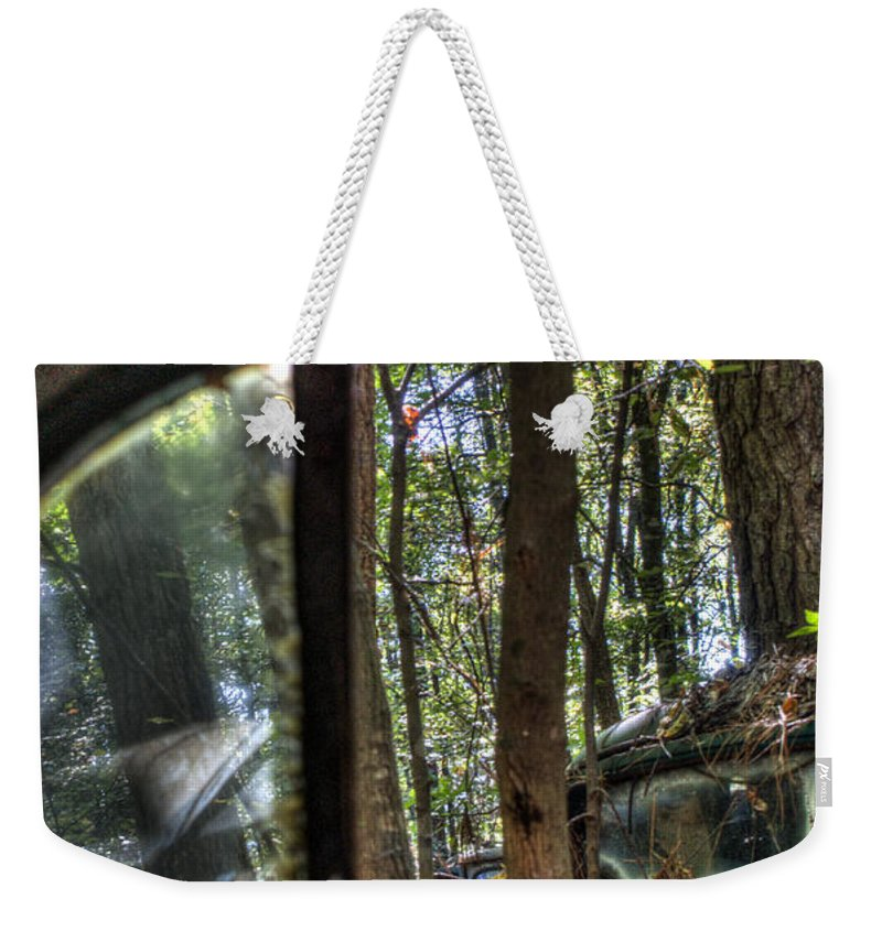 Window Weekender Tote Bag featuring the photograph Window To A Window Via Tree by Douglas Barnett