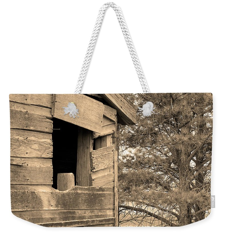 Window Weekender Tote Bag featuring the photograph Window To Nowhere - Sepia by Cindy Angiel