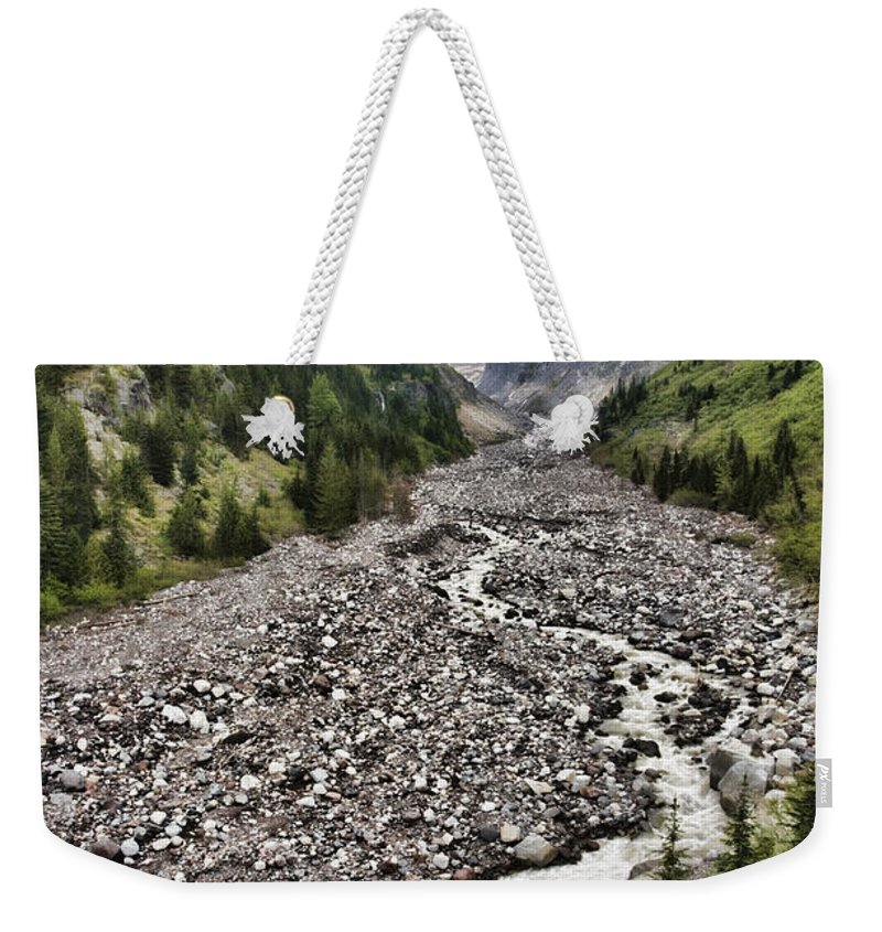Nature Weekender Tote Bag featuring the photograph Window Towards The Mountain by Karen Ulvestad