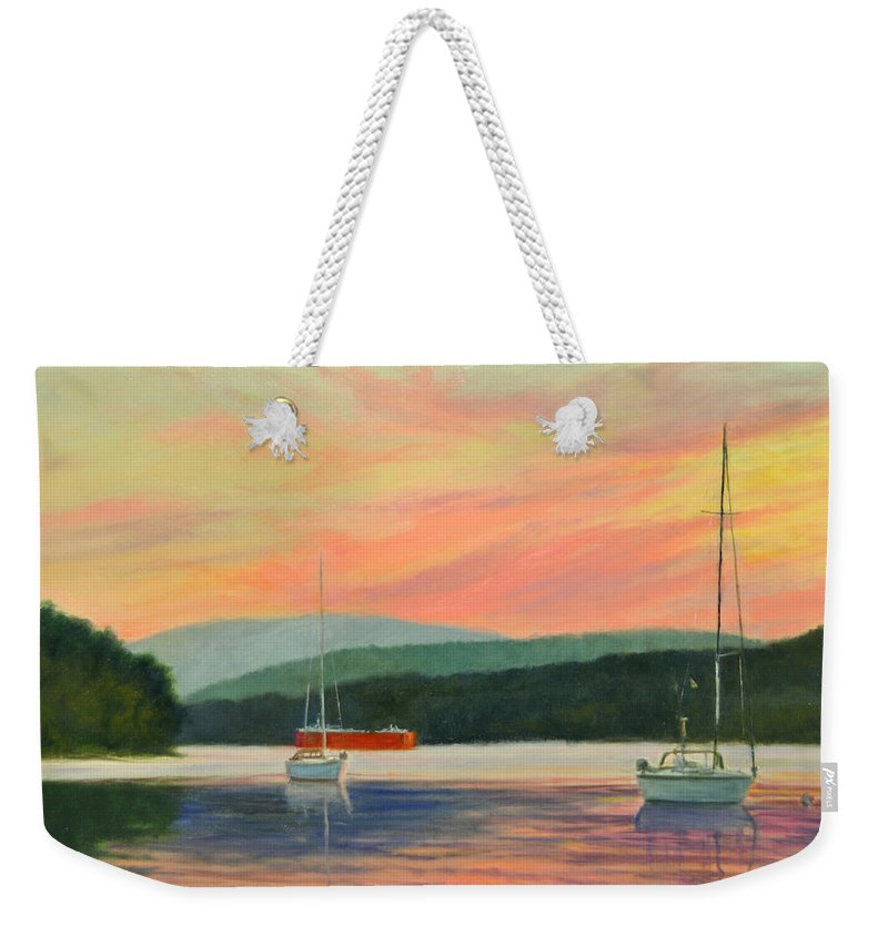 Oil Painting Weekender Tote Bag featuring the painting Windswept Sky Hudson Highlands by Phyllis Tarlow