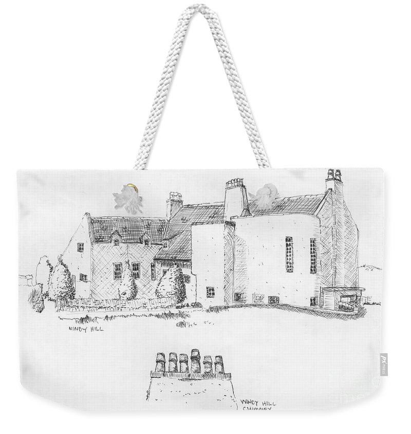 Ink Sketch Weekender Tote Bag featuring the drawing Windy Hill House by Ron Bissett
