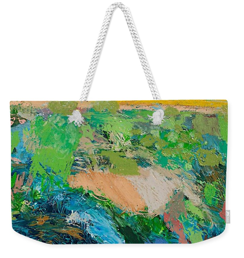Landscape Weekender Tote Bag featuring the painting Windy Storm by Allan P Friedlander