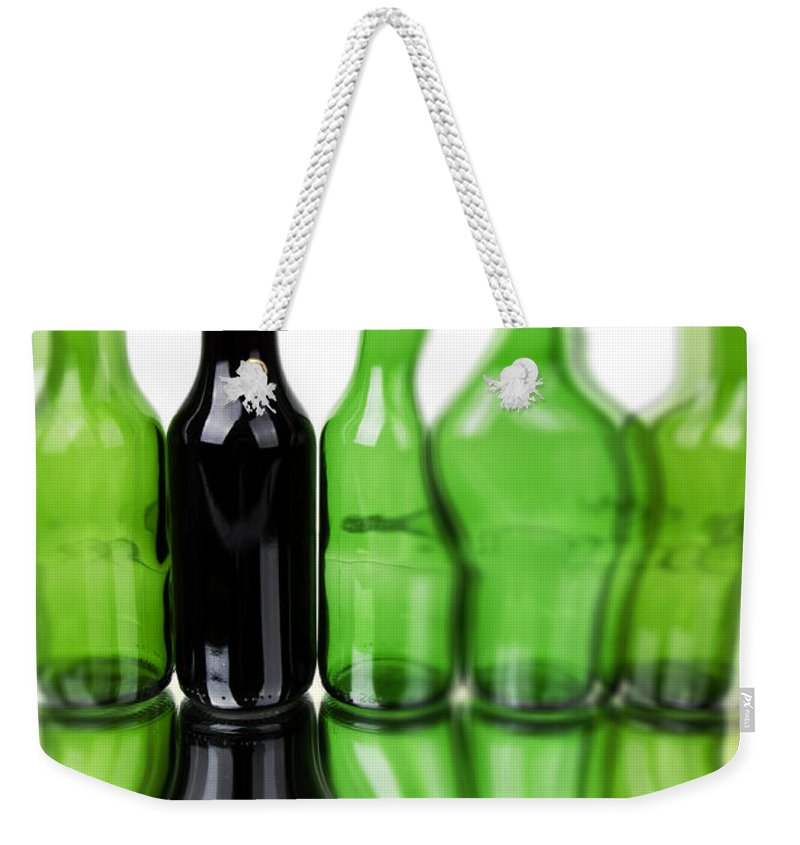 Bottle Weekender Tote Bag featuring the photograph Wine Bottles by Chevy Fleet