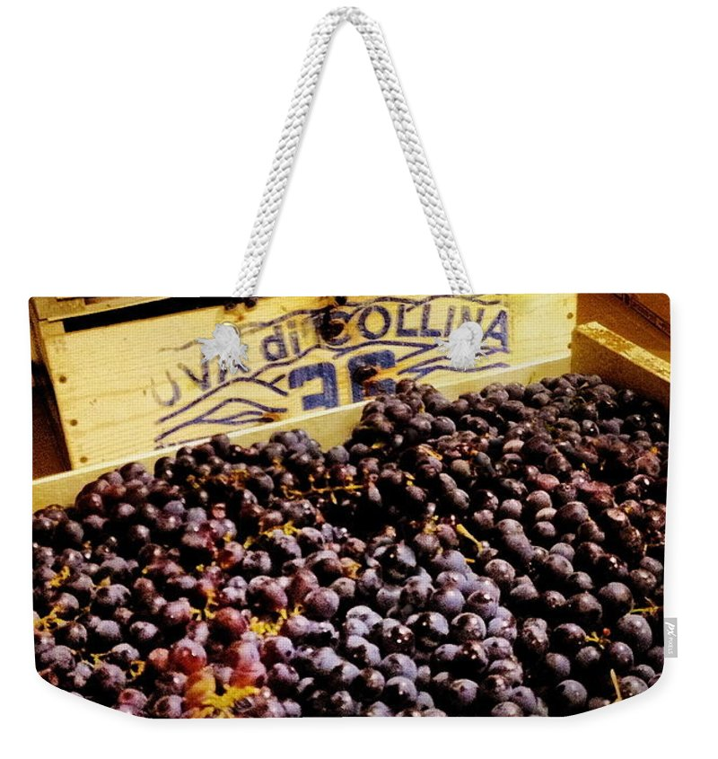 Grape Weekender Tote Bag featuring the photograph Wine Grapes II by Angela Rath