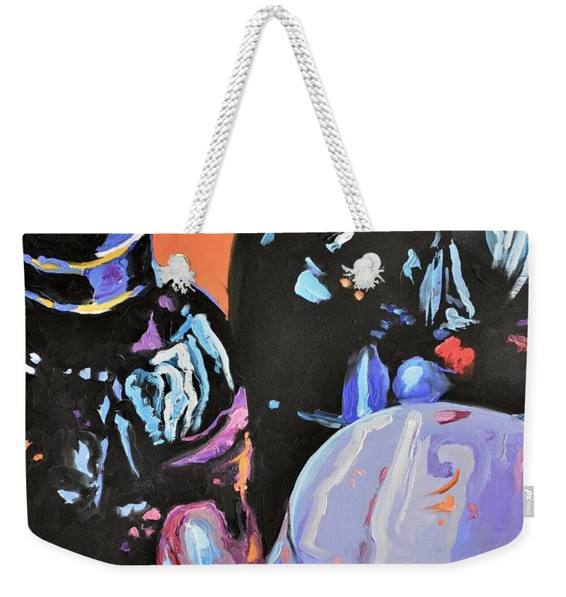 Wine Weekender Tote Bag featuring the painting Wine Party by Donna Tuten