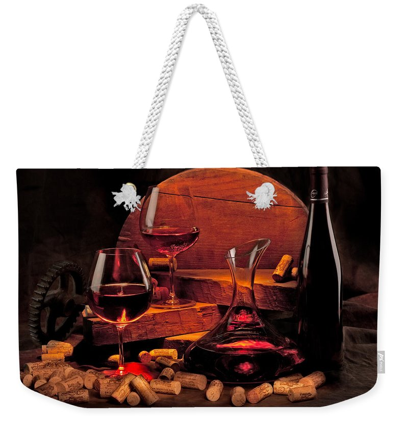 Wine Weekender Tote Bag featuring the photograph Wine Still Life by Mike Penney