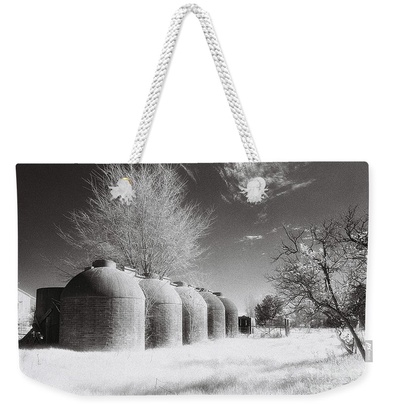 Infrared Weekender Tote Bag featuring the photograph Wine Vats Rutherglen by Linda Lees