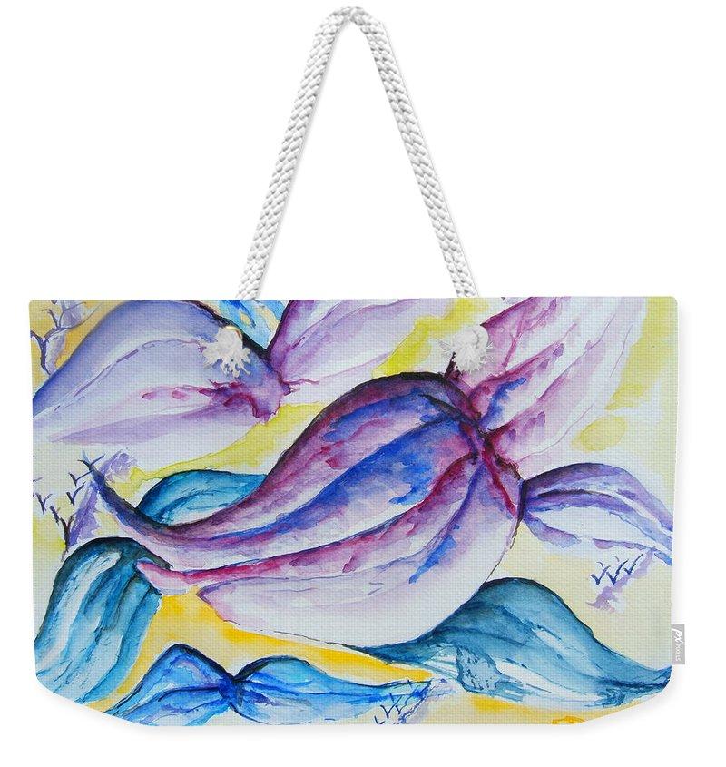 Wings Weekender Tote Bag featuring the painting Wings by Elaine Duras