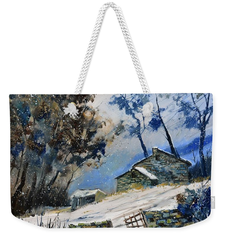 Landscape Weekender Tote Bag featuring the painting Winter 655120 by Pol Ledent