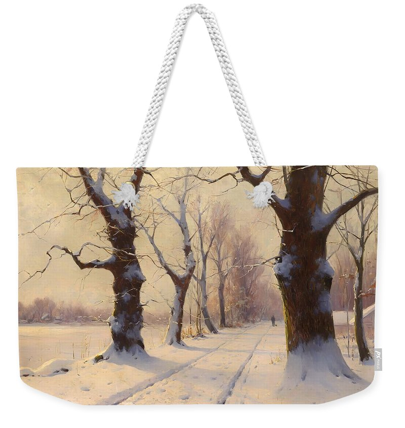 Landscape Weekender Tote Bag featuring the painting Winter Alley by Mountain Dreams
