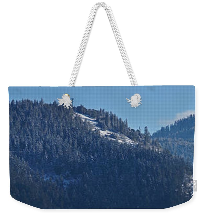 Panorama Weekender Tote Bag featuring the photograph Winter And Mt Baldy Panorama by Mick Anderson