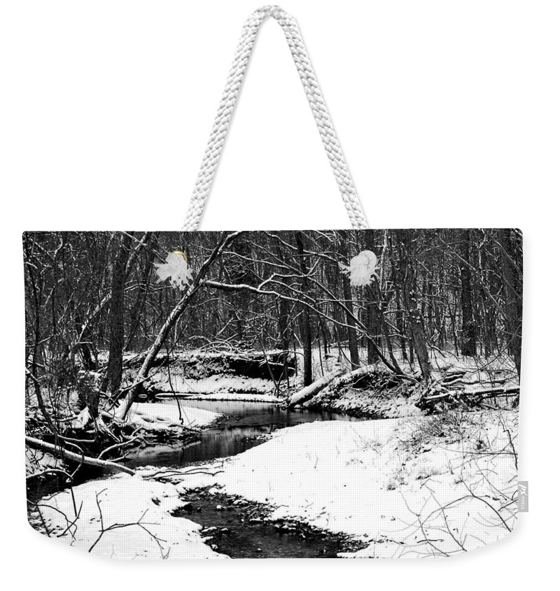 Landscape Weekender Tote Bag featuring the photograph Winter At Pedelo Black And White by Deena Stoddard