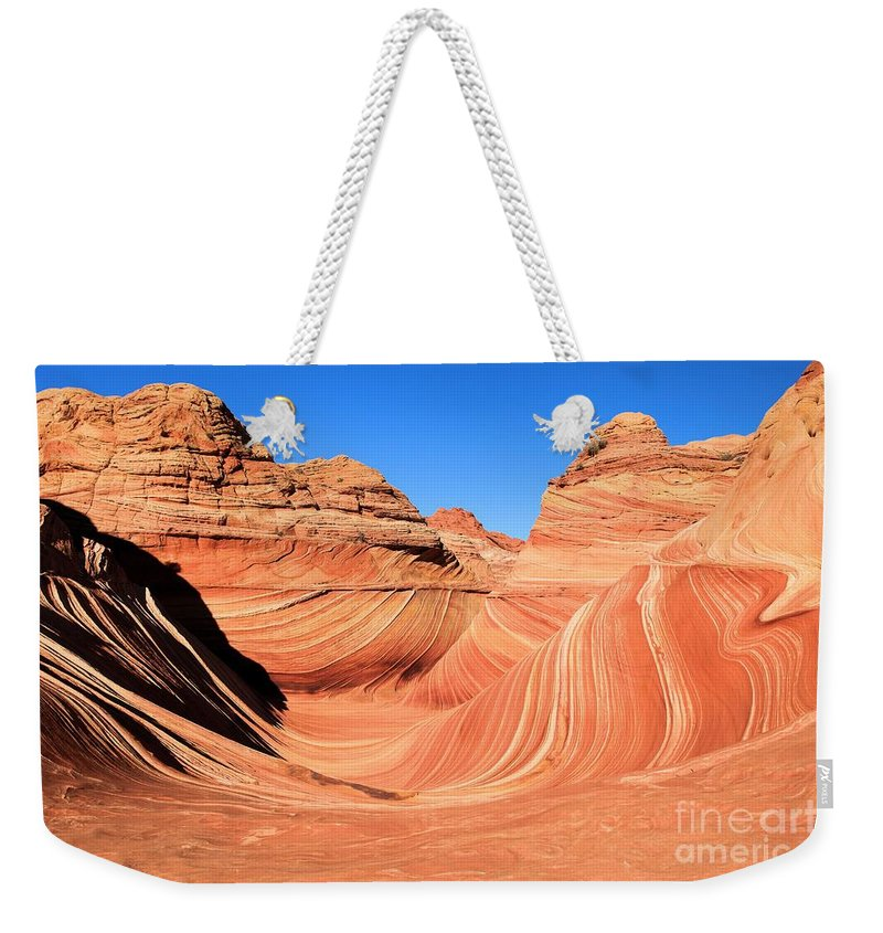 The Wave Weekender Tote Bag featuring the photograph Winter At The Wave by Adam Jewell