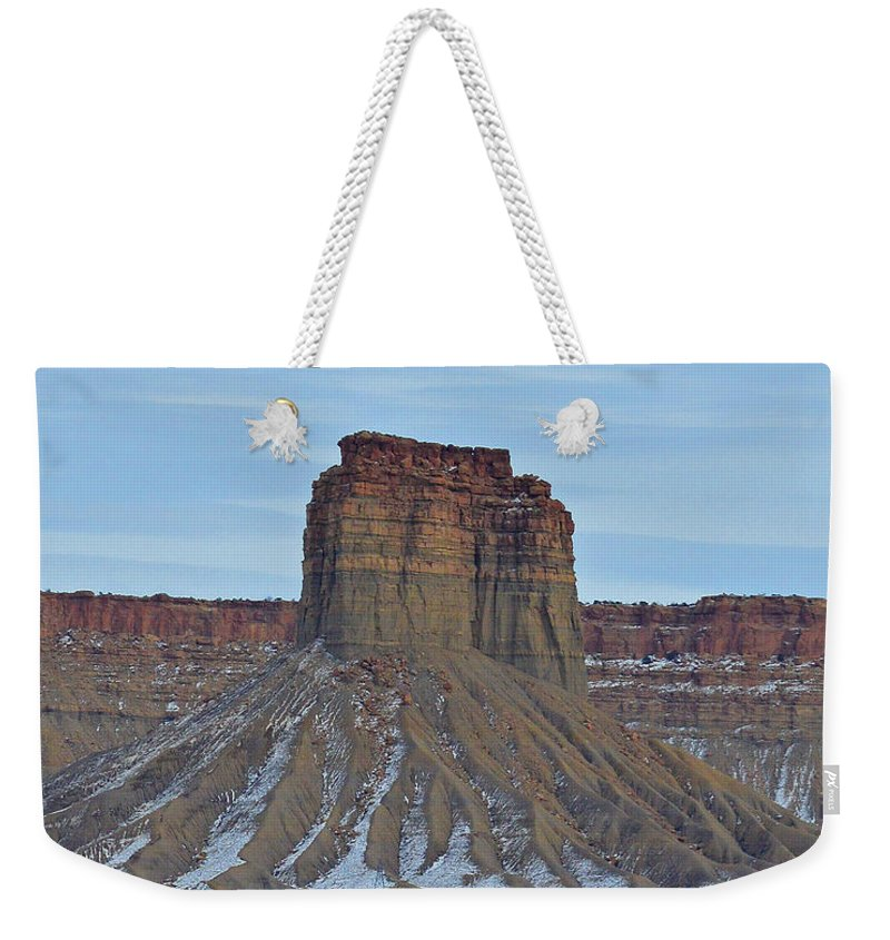 Winter Weekender Tote Bag featuring the photograph Winter Banded Butte by Meandering Photography