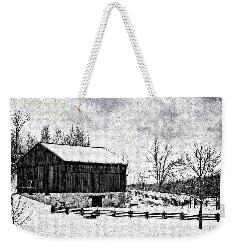 Barn Weekender Tote Bag featuring the photograph Winter Barn Impasto Version by Steve Harrington