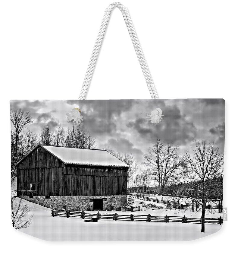 Barn Weekender Tote Bag featuring the photograph Winter Barn Monochrome by Steve Harrington