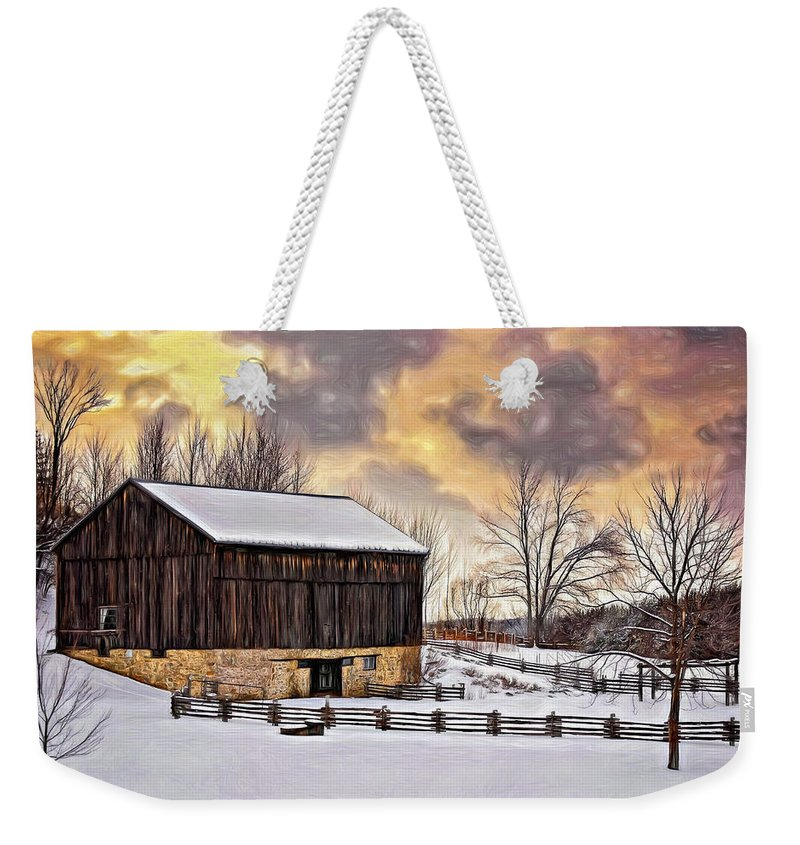 Barn Weekender Tote Bag featuring the photograph Winter Barn - Paint by Steve Harrington