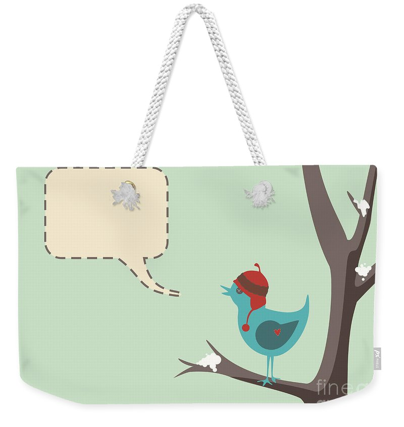 Hat Weekender Tote Bag featuring the photograph Winter Bird by Tim Hester