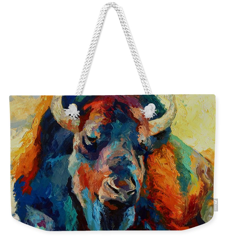 Wildlife Weekender Tote Bag featuring the painting Winter Bison by Marion Rose