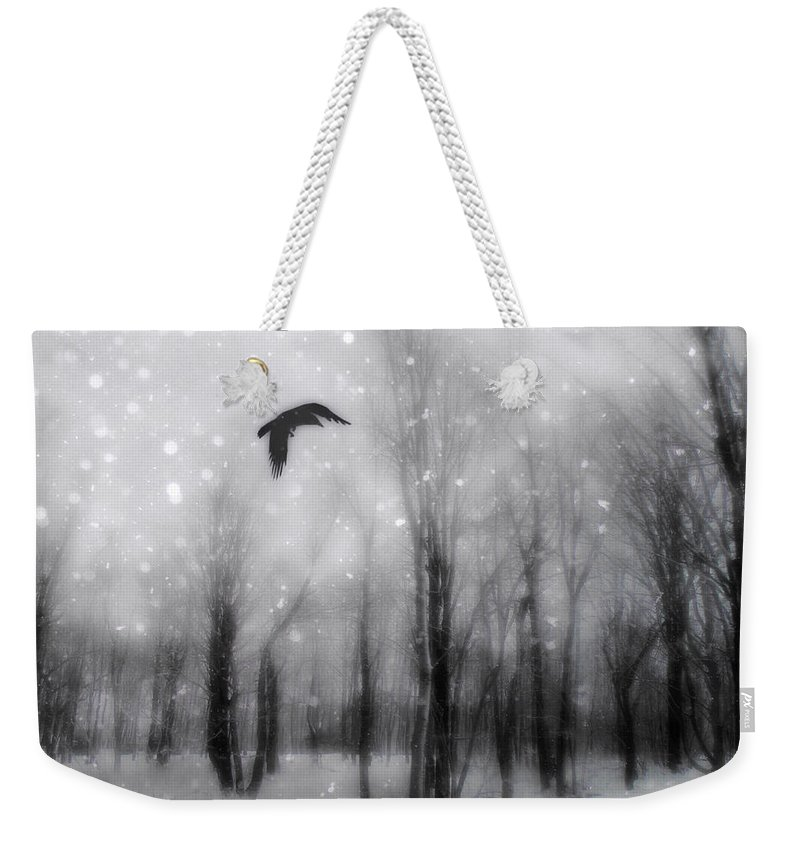 Falling Snow Weekender Tote Bag featuring the photograph Winter Bliss by Gothicrow Images
