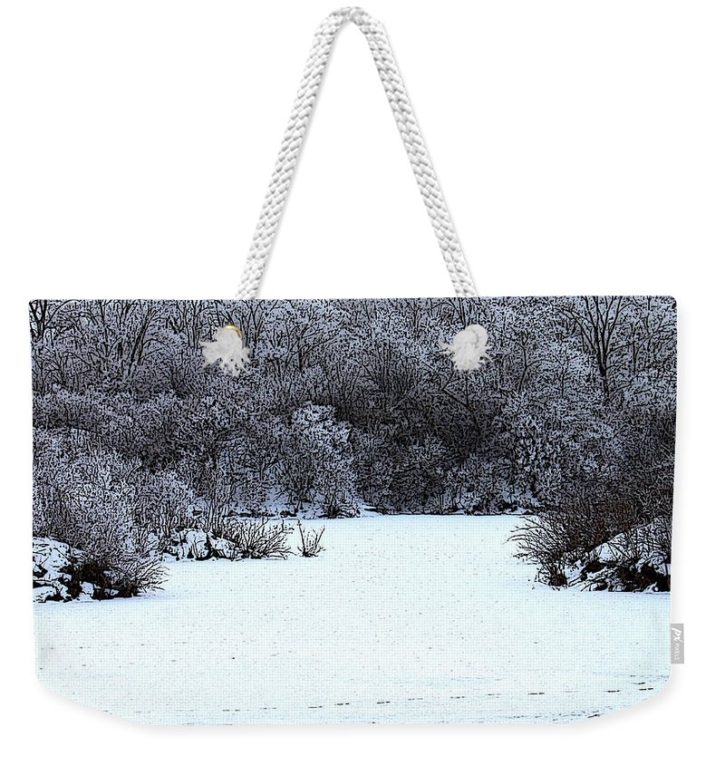 Photoshop Filter Weekender Tote Bag featuring the photograph Winter Blues by Debbie Hart
