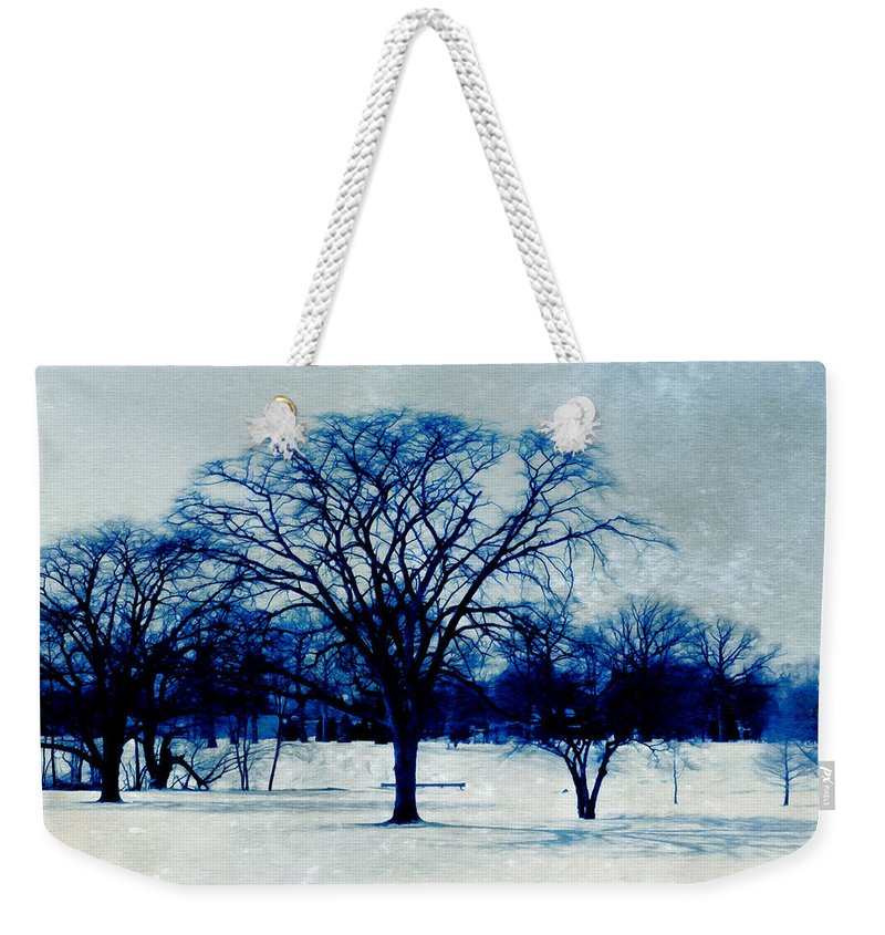 Blue And White Weekender Tote Bag featuring the photograph Winter Blues by Shawna Rowe