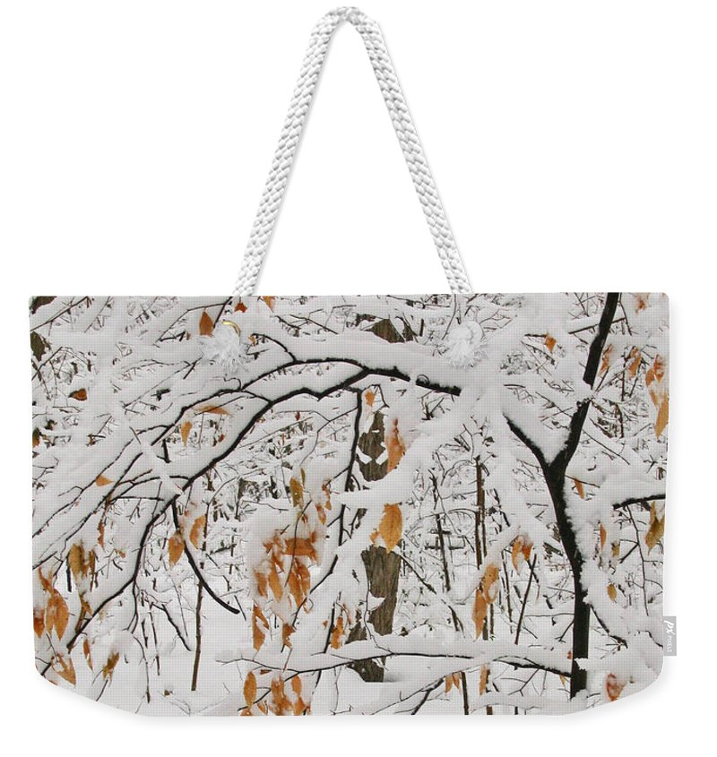 Winter Weekender Tote Bag featuring the photograph Winter Branches by Ann Horn