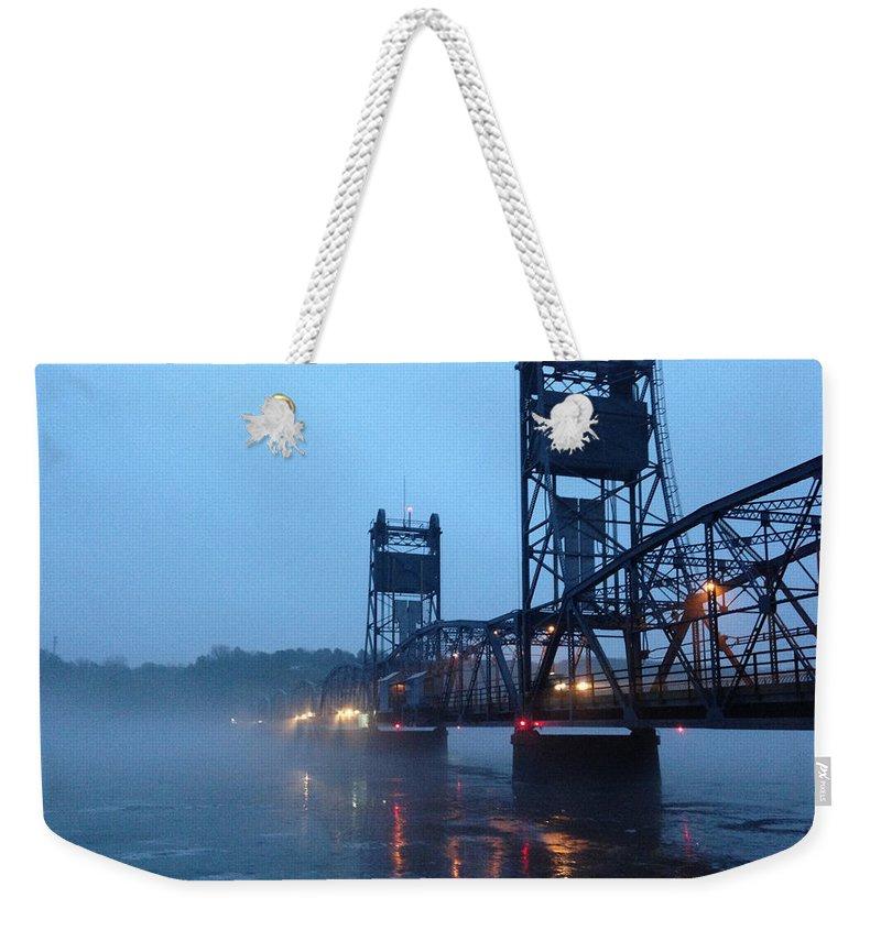 Bridge Weekender Tote Bag featuring the photograph Winter Bridge In Fog by Tim Nyberg