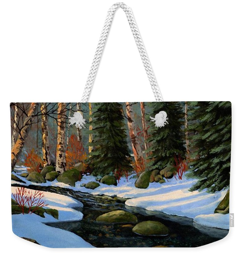 Landscape Weekender Tote Bag featuring the painting Winter Brook by Frank Wilson