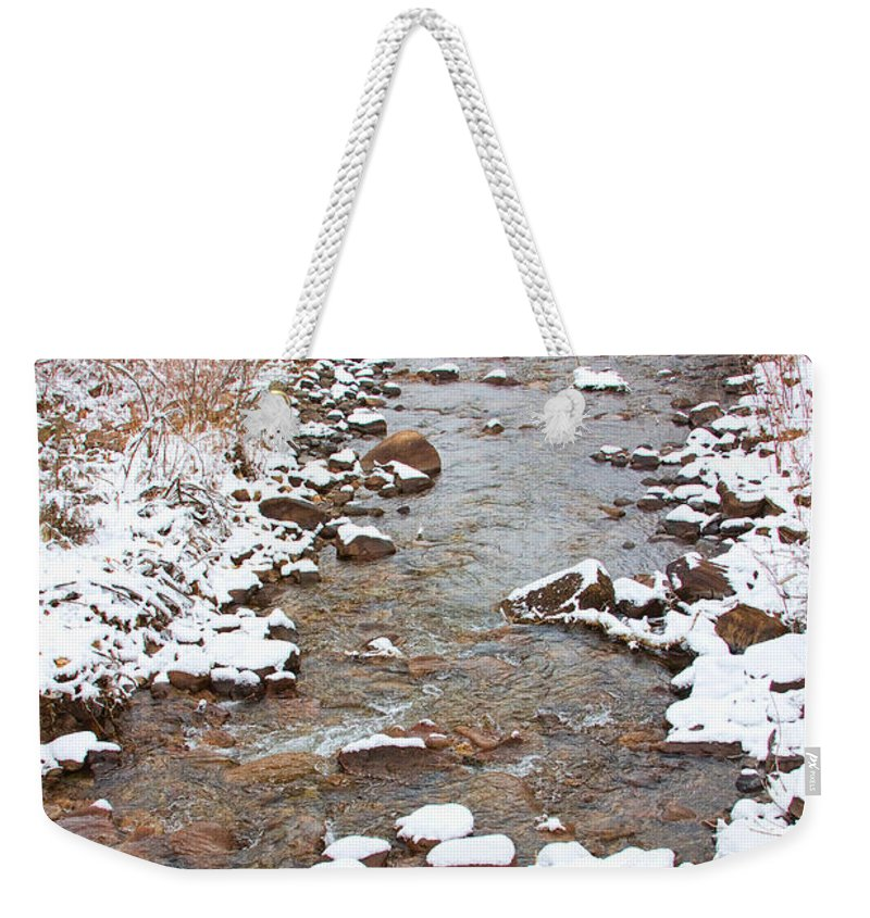 Winter Weekender Tote Bag featuring the photograph Winter Creek Scenic View by James BO Insogna