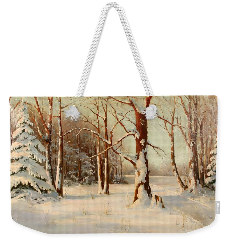 Landscape Weekender Tote Bag featuring the painting Winter Dream by Mountain Dreams