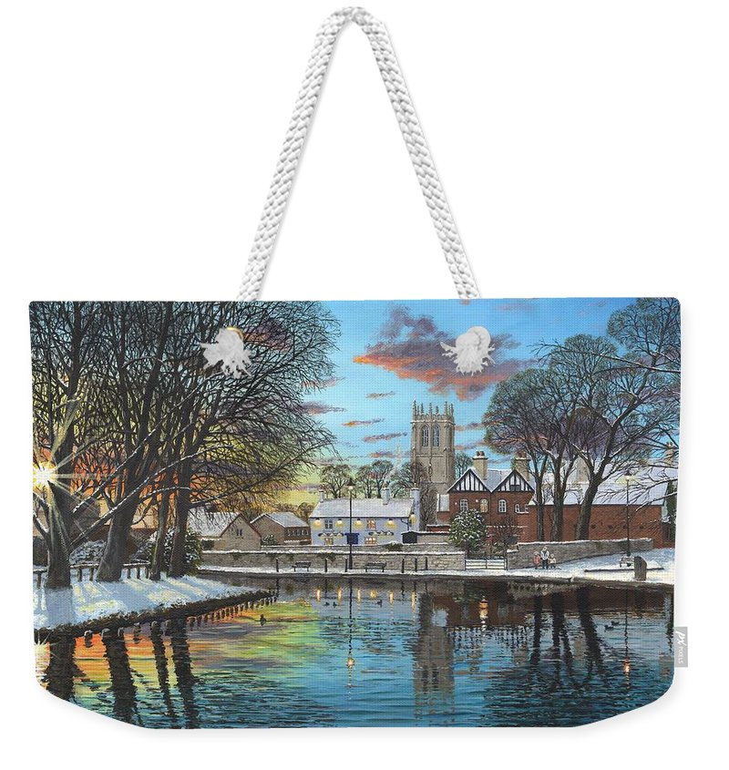 Tickhill Weekender Tote Bag featuring the painting Winter Evening Tickhill Yorkshire by Richard Harpum