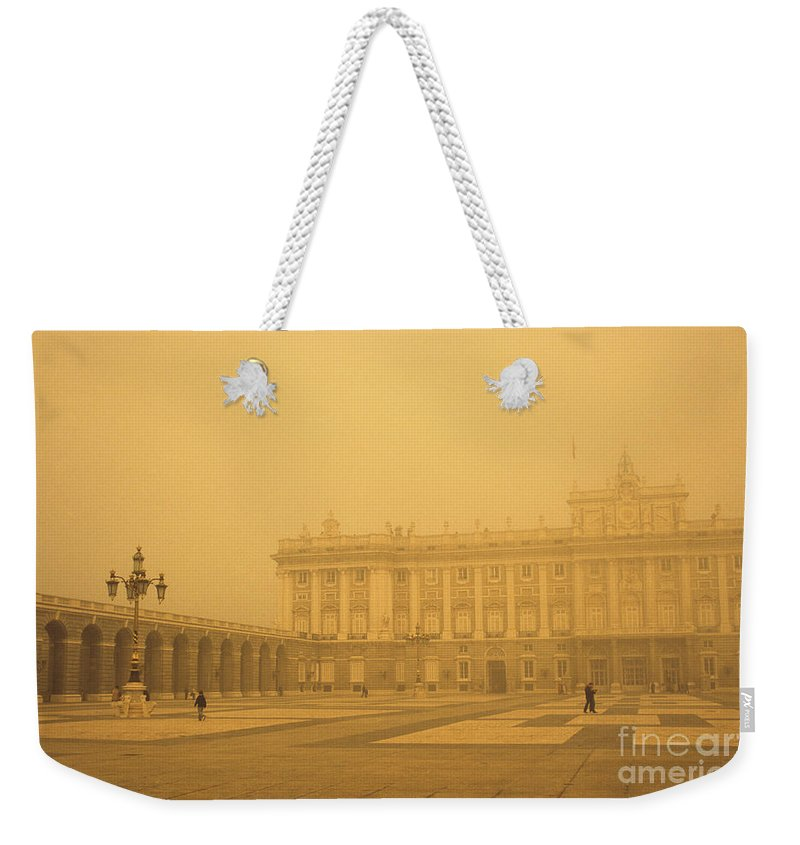 Madrid Weekender Tote Bag featuring the photograph Winter Fog In Madrid by James Brunker