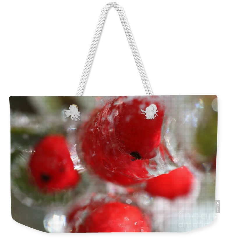 Berries Weekender Tote Bag featuring the photograph Winter Frozen Berries by Nadine Rippelmeyer