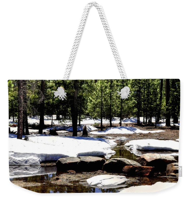 Winter Weekender Tote Bag featuring the photograph Winter Gives Way To Spring 32626 by Jerry Sodorff