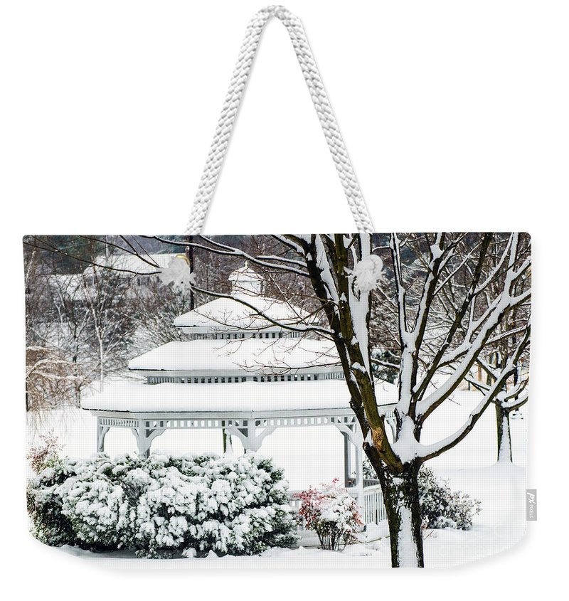 Gazebo Weekender Tote Bag featuring the photograph Winter In The Park by Judy Wolinsky