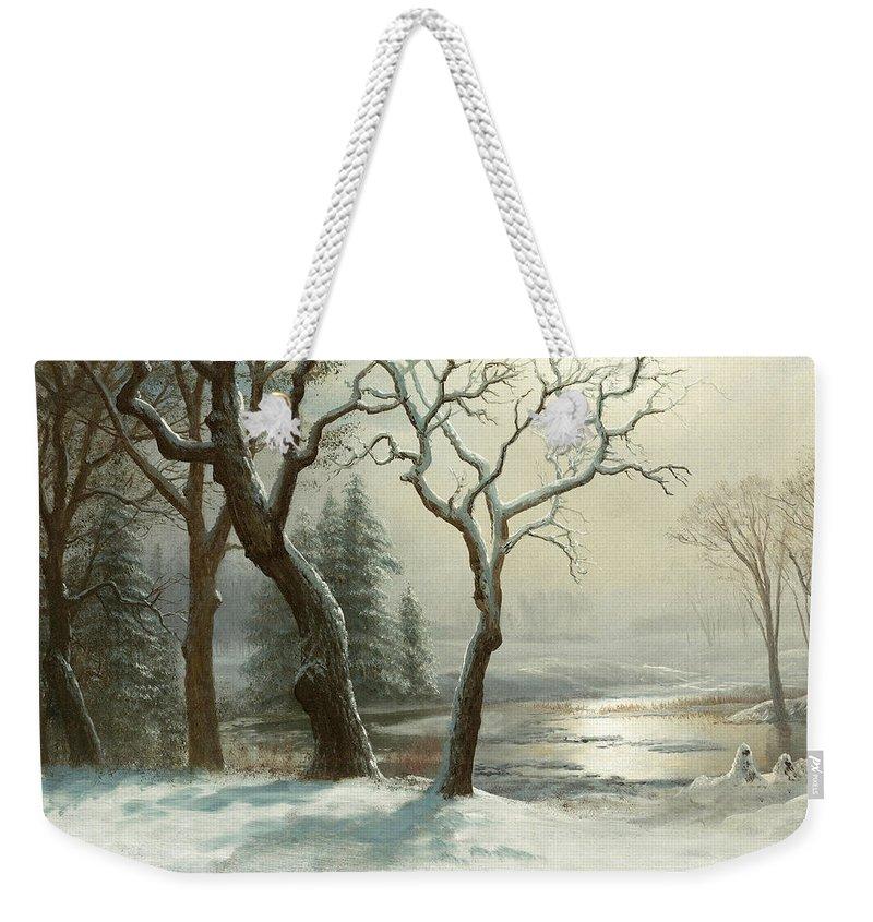 Albert Bierstadt Weekender Tote Bag featuring the painting Winter In Yosemite by Albert Bierstadt