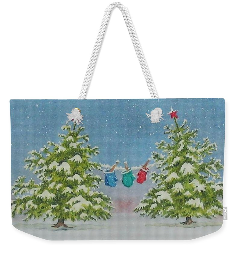 Fun Weekender Tote Bag featuring the painting Winter Is Fun by Mary Ellen Mueller Legault