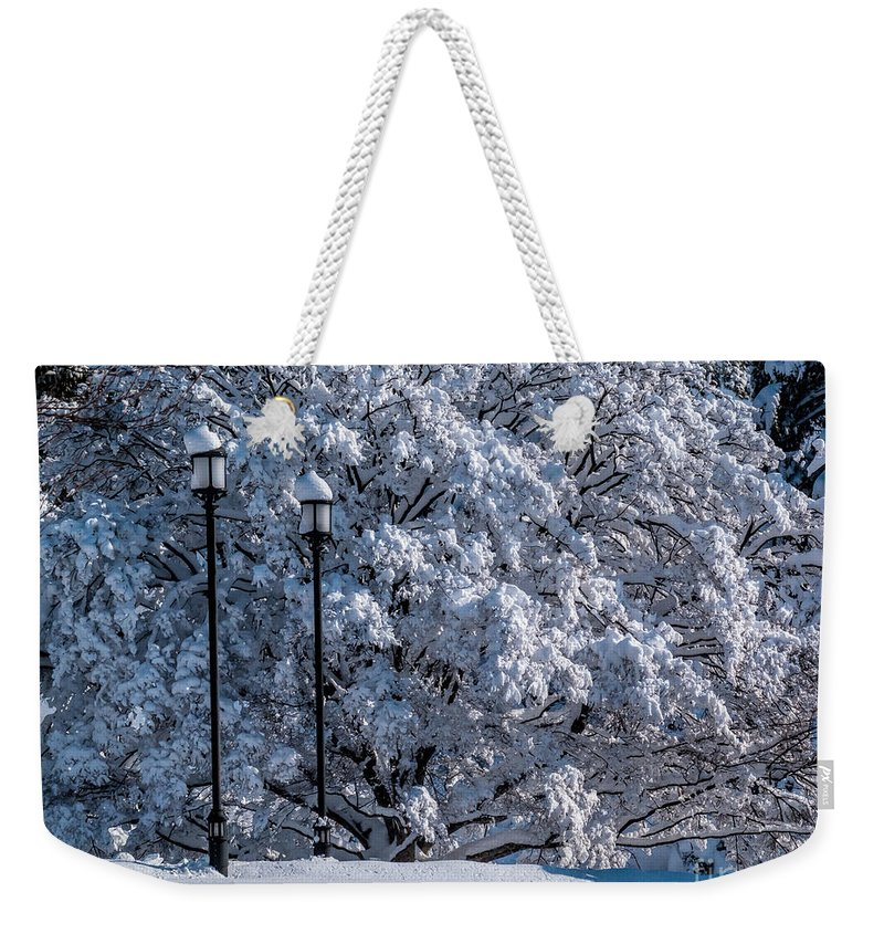 Winter Weekender Tote Bag featuring the photograph Winter Lamp Post by Nick Zelinsky