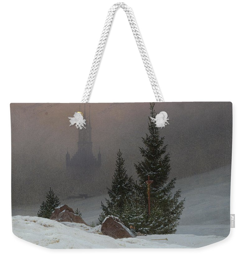 Caspar David Friedrich Weekender Tote Bag featuring the painting Winter Landscape by Caspar David Friedrich